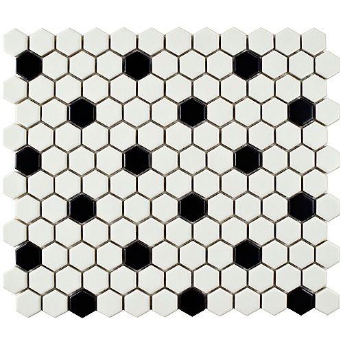Metro Hex Matte White w/ Black Dot 10-1/4-inch x 11-3/4-inch x 6mm Porcelain Mosaic Tile(8.56 sf/ca)
