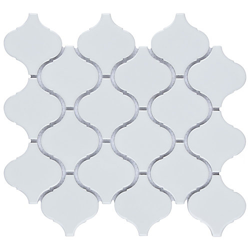 Carreau de mosaïque en porcelaine Metro Lantern blanc lustré 9 3/4 po x 10 1/4 po (7,11 pi2/boîte)
