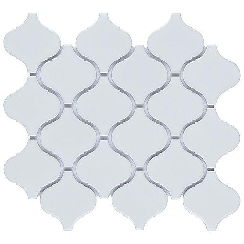 Metro Lantern Glossy White 9.75-inch x 10.25-inch x 6mm Porcelain Mosaic Tile (7.11 sq. ft. / case)