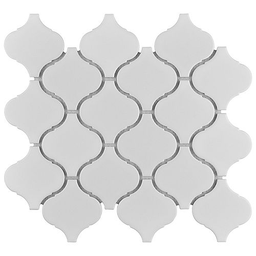 Metro Lantern Matte White 9-3/4-inch x 10-1/4-inch x 6 mm Porcelain Mosaic Tile (7.11 sq.ft. / case)
