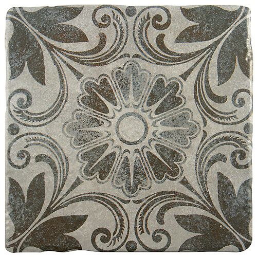 Merola Tile Costa Cendra Decor Dahlia 7-3/4-inch x 7-3/4-inch Ceramic Floor and Wall Tile (11.11 sq. ft. / case)