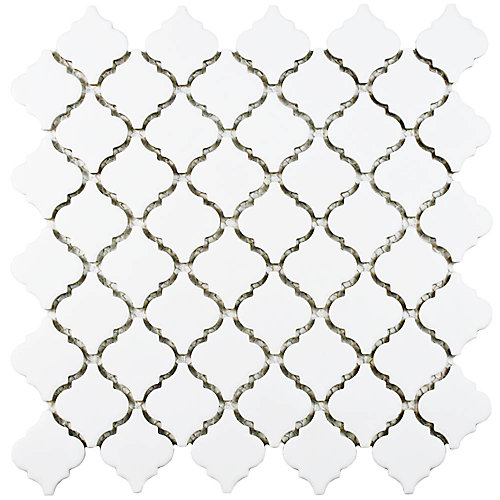 Carreau de mosaïque en porcelaine Hudson Tangier blanc mat 12 3/8 po x 12 1/2 po (10,96 pi2/boîte)
