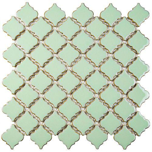 Merola Tile Hudson Tangier Light Green 12-3/8-inch x 12-1/2-inch x 5 mm Porcelain Mosaic Tile(10.96 sq.ft./case)