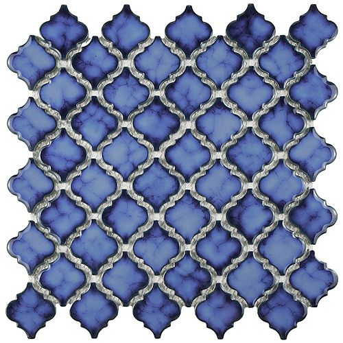 Merola Tile Carreau de mosaïque en porcelaine Hudson Tangier saphir 12 po 3/8 x 12 1/2 po (10,7 pi2/boîte)