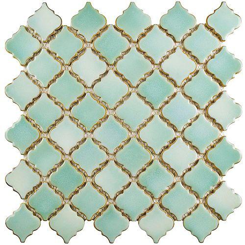 Merola Tile Carreau de mosaïque en porcelain Hudson Tangier menthe verte 12 3/8 po x 12 1/2 po (10,7pi2/boîte)