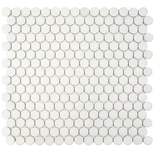 Hudson Penny Round Matte White 12-inch x 12-5/8-inch x 5 mm Porcelain Mosaic Tile (10.74 sq.ft./case)