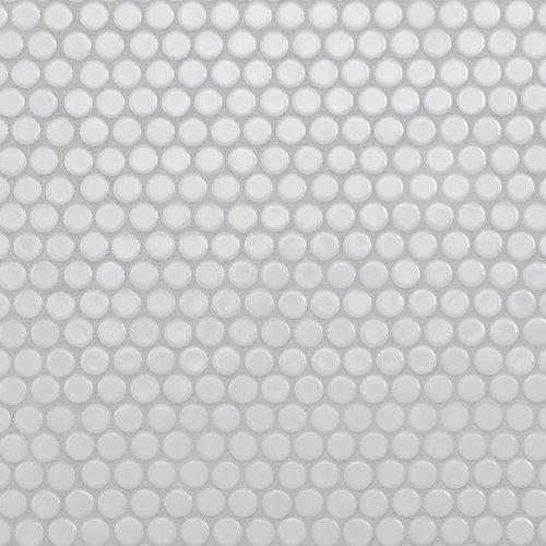 Carreau de mosaïque en porcelaine Hudson Penny Round blanc lustré 12 po x 12 5/8 po (10,74 pi2/boîte)