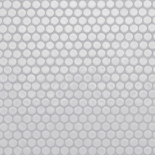 Hudson Penny Round Glossy White 12-inch x 12-5/8-inch x 5 mm Porcelain Mosaic Tile (10.74 sq.ft./case)