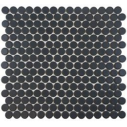 Hudson Penny Round Matte Black 12-inch x 12-5/8-inch x 5 mm Porcelain Mosaic Tile (10.74 sq.ft./case)