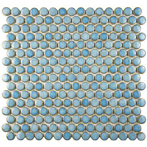 Merola Tile Hudson Penny Round Marine 12-inch x 12-5/8-inch x 5 mm Porcelain Mosaic Tile (10.74 sq.ft. / case)