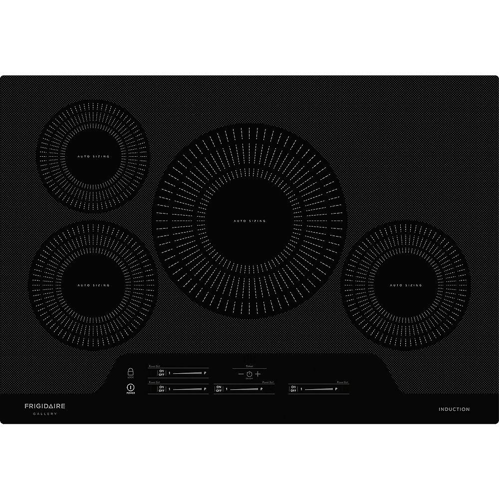 Frigidaire Gallery Table de cuisson à induction électrique lisse de 30 pouces avec 4 éléments en noir