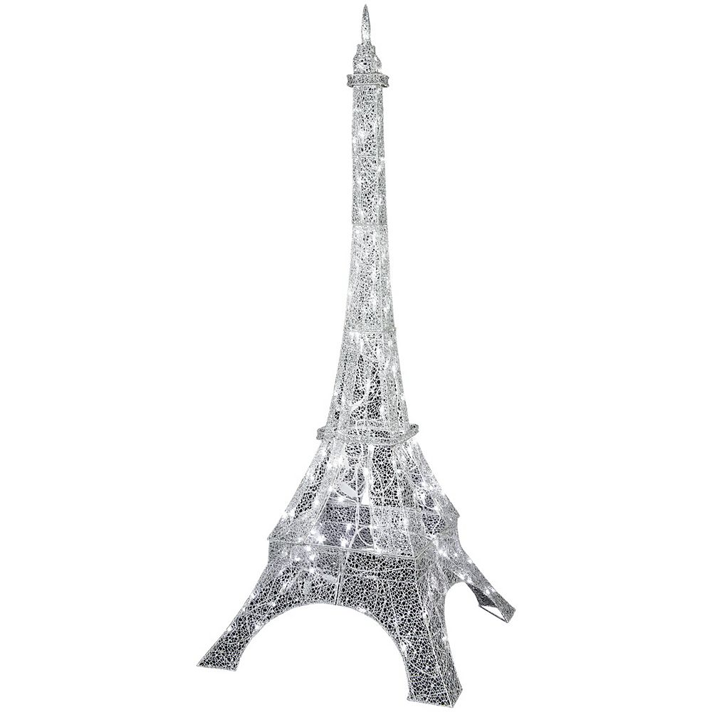 LightShow LED Crystal Swirl Silver Eiffel Tower Decoration