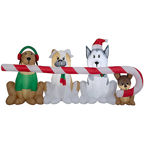 Airblown Inflatable Puppies Candy Cane Scene