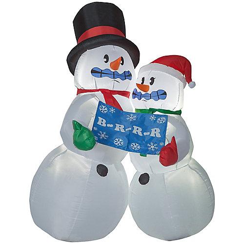 Couple de bonshommes de neige grelottant gonflable pour décoration d'extérieur, 6 pi