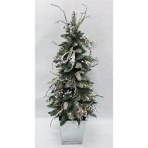 Arbre de Noël artificiel illuminé en pot Snowtop Dazzle, blanc chaud, 4 pi