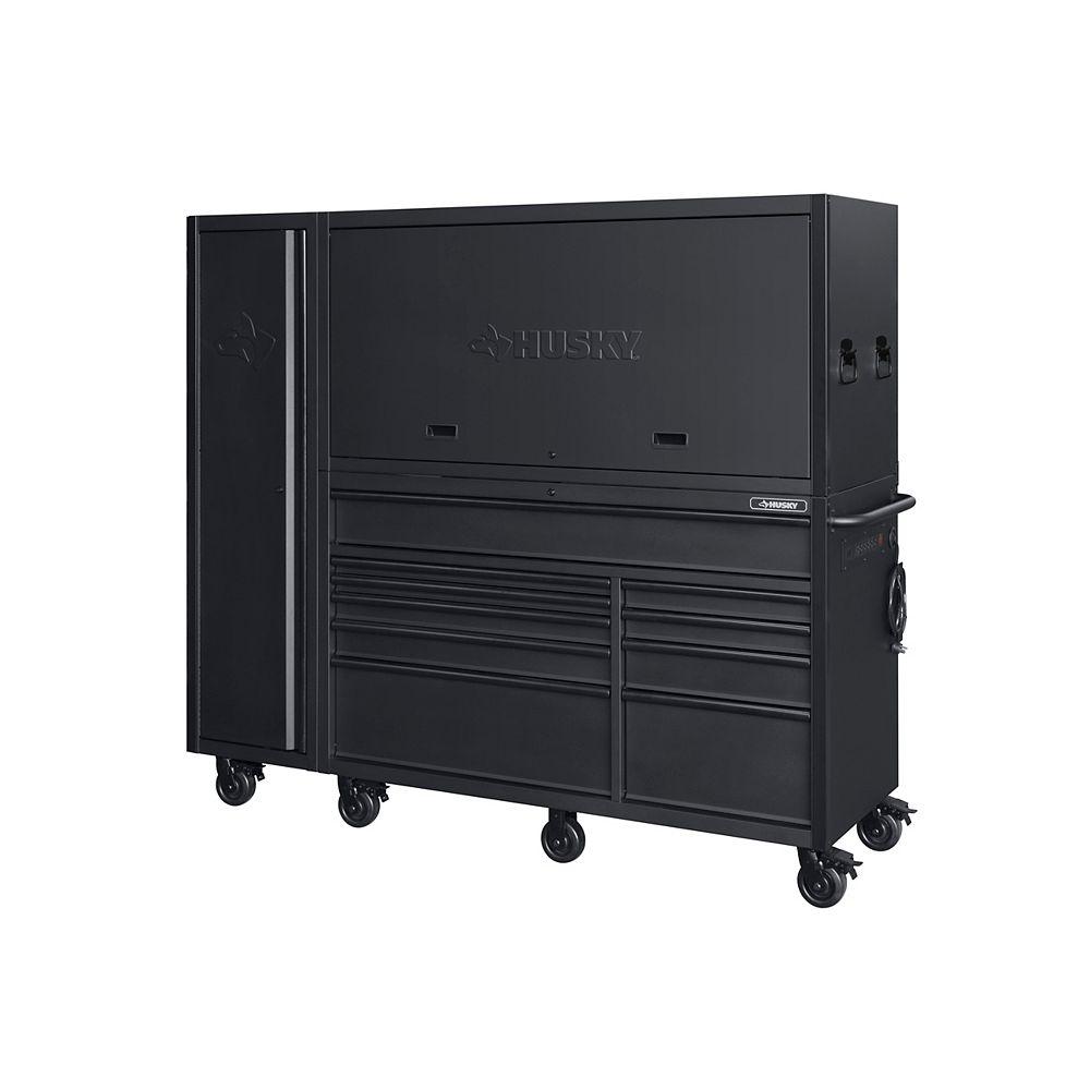 Husky Établi et armoire latérale usage intensif, 10tiroirs, 203cm, de garage, noir mat (3pces)