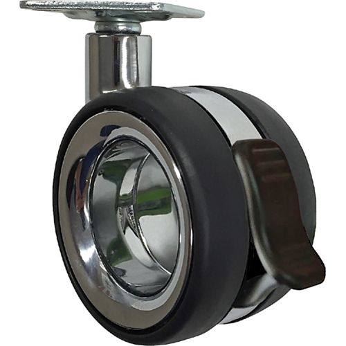 Designer Premium Series Hub Free 3-inch Designer Caster, Twin Wheel Vacant, Brake