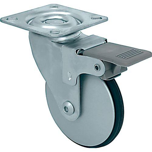 Designer Premium Series Saucer 3-inch Designer Caster, Aluminum Petite, w/ Brake