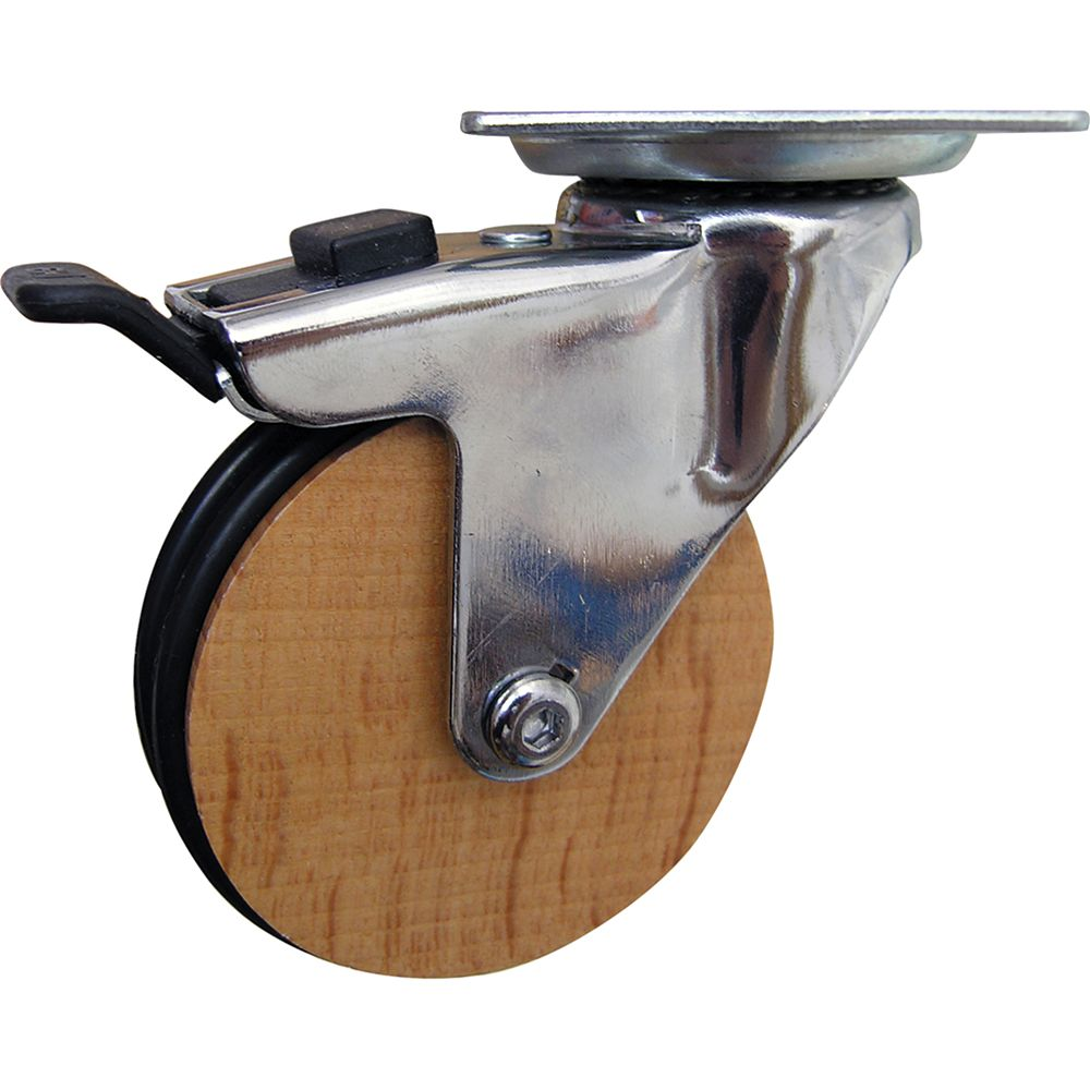 Shepherd Hardware Designer Premium Series 3-Inch Designer Casters, Wooden Trunk w/Total Lock Brake