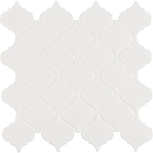 Retro Arabesque Bianco 9.94-inch x 10.83-inch x 6mm Porcelain Mesh-Mounted Mosaic Tile