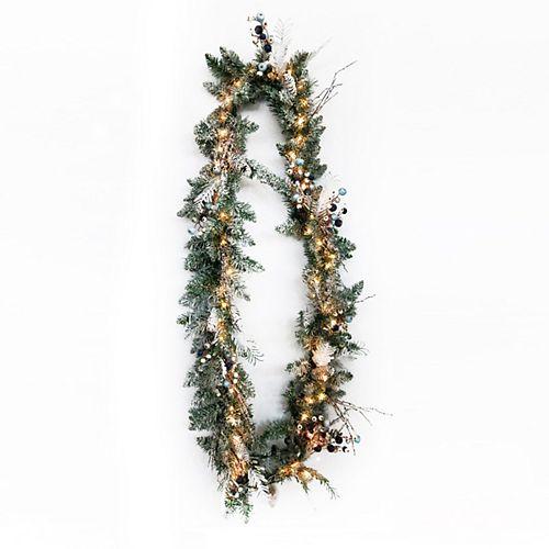 9ft Pre-Lit Snowtop Dazzle Christmas Garland