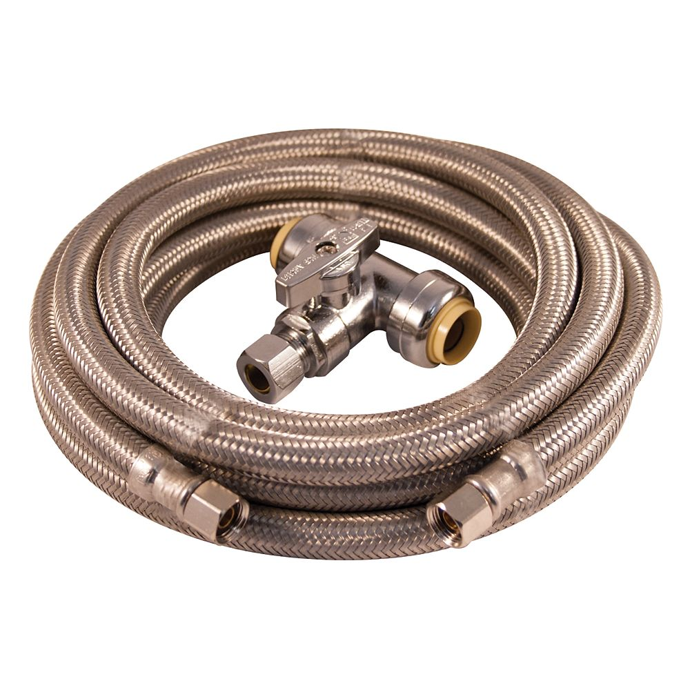 Aqua-Dynamic Installation Kit - Ice Maker 15ft braided stainless steel with push fit tee valve