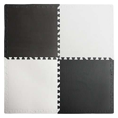 Interlocking Anti-Fatigue Mat in Black/White with Borders (4-Pack)