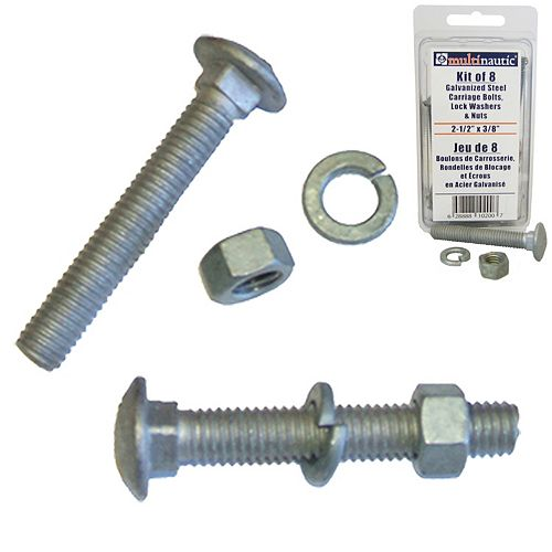 Bolts Galv 3/8 inch x 2 1/2 inch Nuts & lock washers (16-Pack)