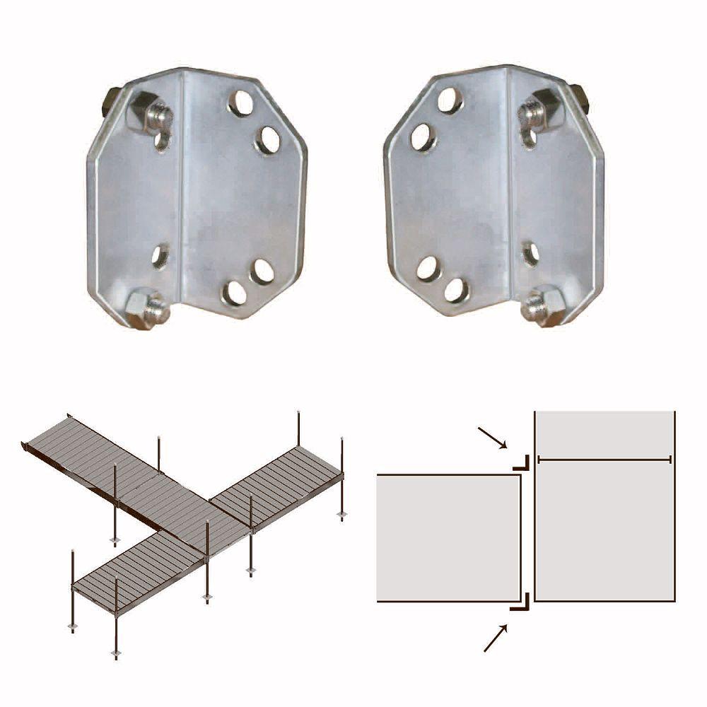 Multinautic Pair (2) Aluminum Corner Adaptors for QP-400 and QP-427 Aluminum Docks