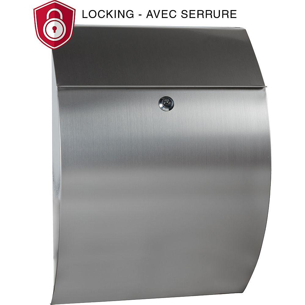 PRO-DF Boîte aux Lettres Contemporaine avec Serrure, Acier Inoxydable