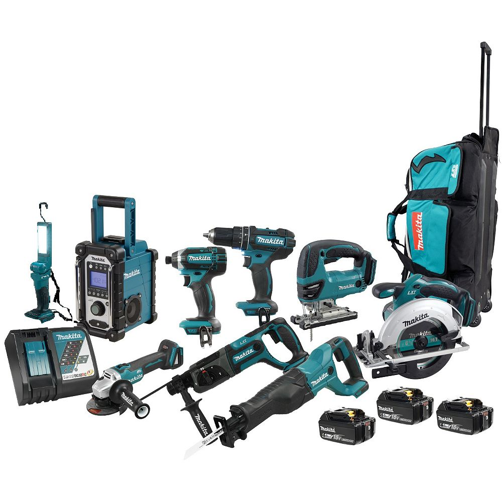 MAKITA 18V LXT 9-Piece Combo 4.0Ah Kit with 3 Batteries