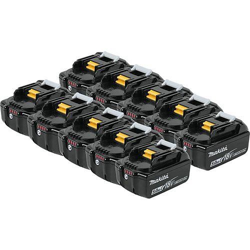 MAKITA 18V (5.0 Ah) LI-ION BTTRY BL1850B - Bulk (10-Pack)