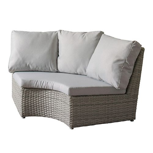 Corliving Brisbane Weather Resistant Resin Wicker Corner Patio Chair with Grey Cushions