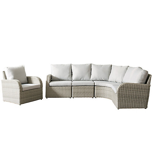 Brisbane Weather Resistant Resin Wicker 5-Piece Curved Sectional Patio Set with Grey Cushions