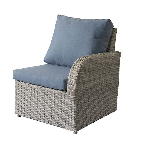 Corliving Brisbane Weather Resistant Resin Wicker Right Arm Patio Chair with Blue Cushions