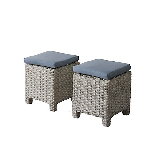 Brisbane Weather Resistant Resin Wicker Ottomans with Blue Cushions, (Set of 2)