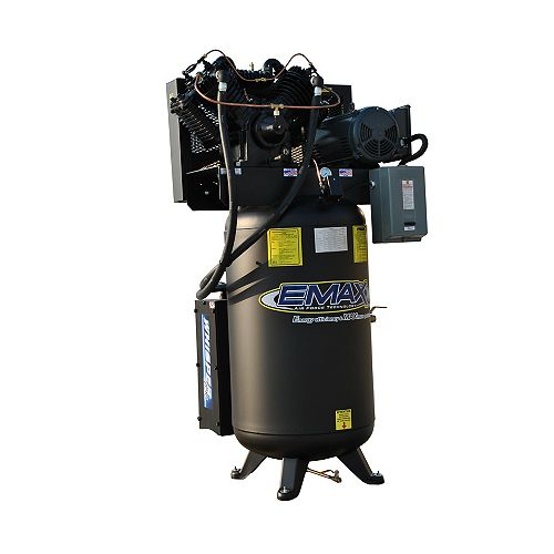 Industrial  5 HP 1- Phase 2-Stage 80 Gal. Vertical Stationary Electric Air Compressor