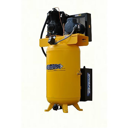Industrial  Silent Air 5 HP 1-Phase 2-Stage 80 Gal Vertical Stationary Electric Air Compressor