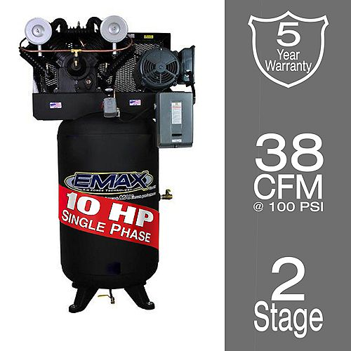 Industrial  10 HP 1-Phase 80 gal. Vertical  Industrial Electric Air Compressor