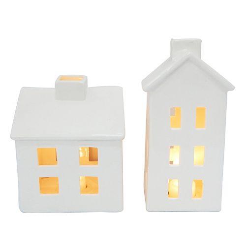 LED-Lit Ceramic House (Set of 2)
