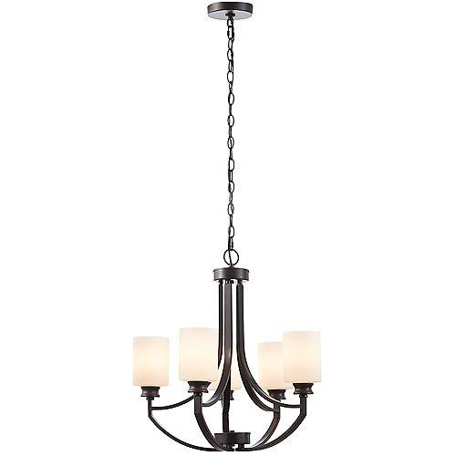 Home Decorators Collection Tricia - Chandelier en bronze à 5 lumières avec verres blancs givrés
