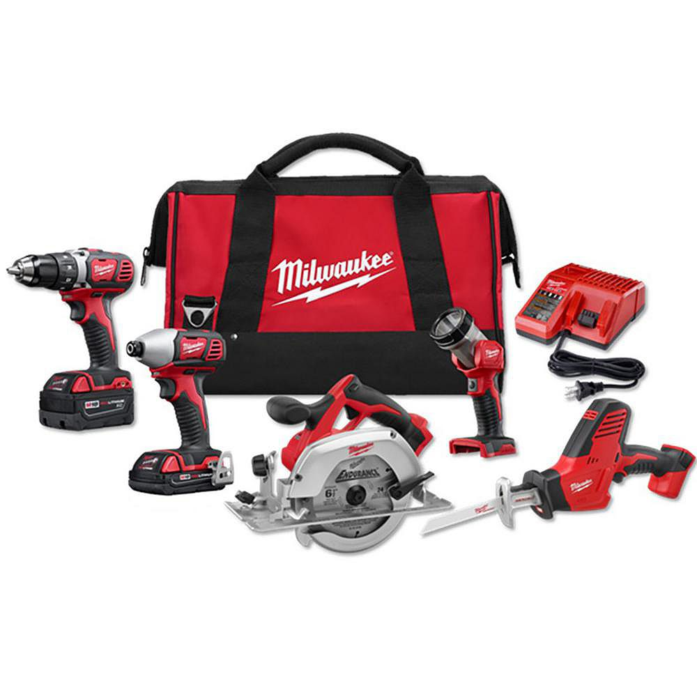 Milwaukee Tool M18 18V Lithium-Ion Cordless Combo Tool Kit (5-Tool) with (1) 3.0Ah and (1) 1.5Ah Battery