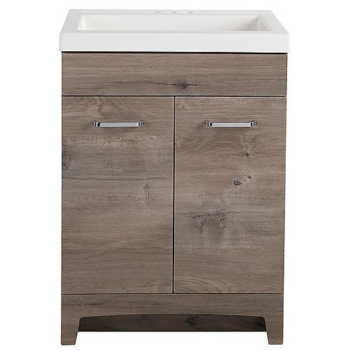 Stancliff 24.5 in. W x 18.75 in. D x 34.09 in. H Bath Vanity in White Washed Oak with Cultured Marble Vanity Top in White with White Sink