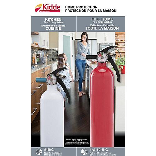 Duo  Extincteur 5-B:C blanc cuisine/garage et extincteur 1-A:10-B:C rouge à usages multiples