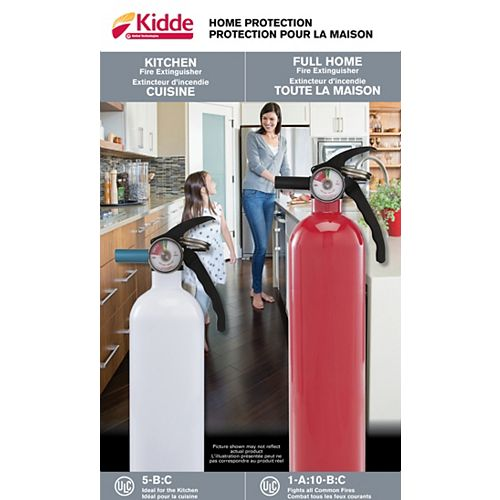 5-B:C White Kitchen/Garage & 1-A:10-B:C Multipurpose Red Fire Extinguisher Twin Pack