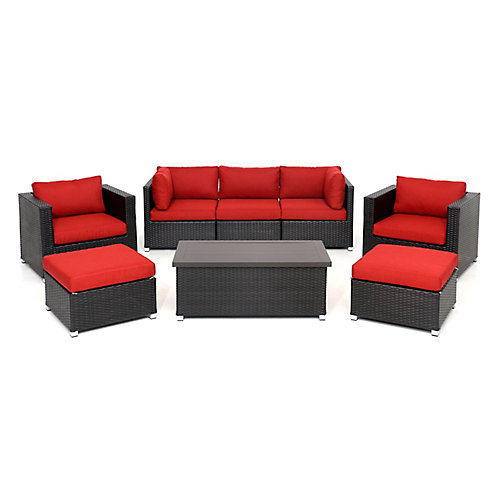 Innesbrook Collection 8.1 Patio Conversation Set with Red Cushions