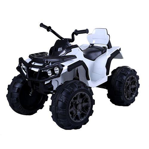 12V K-4 Super Quad Kids' Ride-On Toy ATV in White