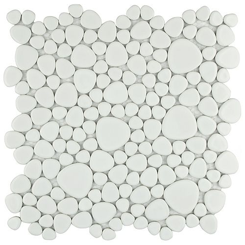 Merola Tile Pebble White 11-inch x 11-inch x 6 mm Porcelain Mosaic Tile (8.6 sq. ft. / case)