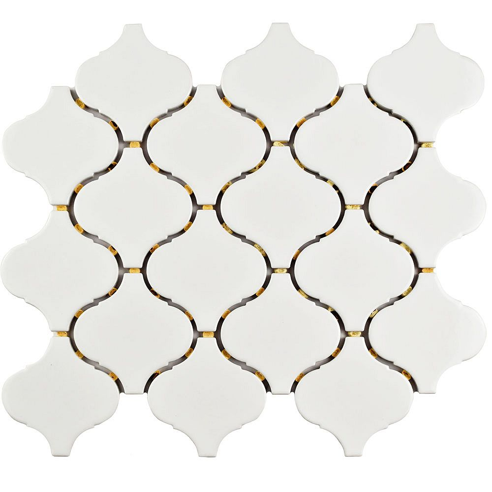 Merola Tile Marra Lantern Glossy White 9-1/2-inch x 10-3/4-inch x 6 mm Porcelain Mosaic Tile (7.27 sq. ft./case)