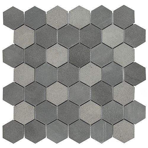 Structure Due Hex Black 11 3/4-inch x 12-inch x 8 mm Natural Lava Stone Mosaic Tile (10 sq. ft. / case)